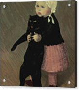 A Small Girl With A Cat Acrylic Print