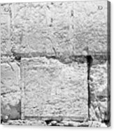 A Small Part Of The Wailing Wall In Black And White Acrylic Print