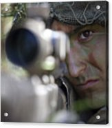 A Sniper Sights In On A Target Acrylic Print by Stocktrek Images