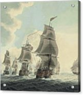 A Squadron Of The Royal Navy Running Down The Channel And An East Indiaman Preparing To Sail Acrylic Print