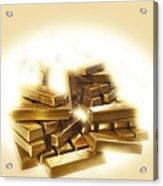 A Stack Of Gold Bullion  Acrylic Print