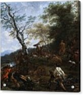 A Stag Hunt Nicolaes Claes Pietersz Berchem Acrylic Print