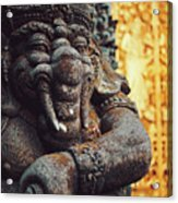 A Statue Of A Intricately Designed Holy Hindu Elephant Ganesha In A Sacred Temple In Bali, Indonesia Acrylic Print