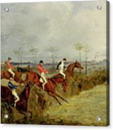 A Steeplechase - Taking A Hedge And Ditch  Acrylic Print by Henry Thomas Alken