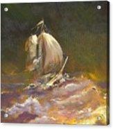 A Stormy Night At Sea Acrylic Print