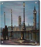 An Evening Stroll Along The Thames  Acrylic Print