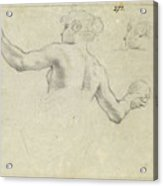 A Study For A Female Allegorical Figure And A Separate Study For Her Head Acrylic Print