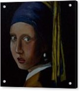A Study Of The Girl With Pearl Earring By Vermeer Acrylic Print