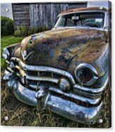 A Stylized Wide Angle Look At An Old Rusty Cadillac By A Cornfield Acrylic Print