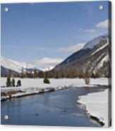 A Sunny Winter Scene In The Swiss Alps Acrylic Print