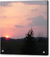 A Sunset  With Sun On The Horizon  Acrylic Print