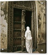 A Swahili Woman Enters A Building Acrylic Print