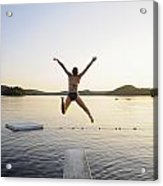 A Swimmer Jumps Off A Diving Board Acrylic Print