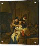 A Tavern Interior With Two Peasants Making Advances On A Maid With Figures Making Music Beyond Acrylic Print