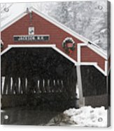 A Traditional Covered Bridge On A Snowy Acrylic Print by Tim Laman