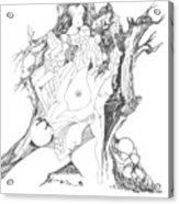 A Tree Human Forms And Some Rocks Acrylic Print