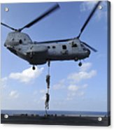 A Trio Of Marines Fast Rope Acrylic Print