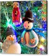 A Trio Of Snowmen Acrylic Print