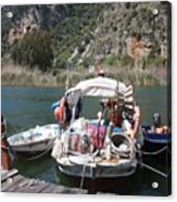 A Turkish Fishing Boat On The Dalyan River Acrylic Print