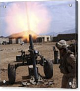 A U.s. Marine Corps Gunner Fires Acrylic Print