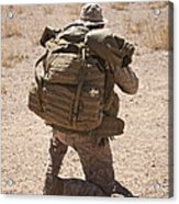 A U.s. Marine Pulls Security While Acrylic Print