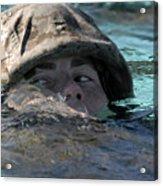 A U.s. Marine Swims Across A Training Acrylic Print