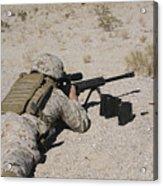 A U.s. Marine Zeros His M107 Sniper Acrylic Print by Stocktrek Images
