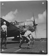 A Us Navy Fighter Pilot Gets The Take Off Flag From The Deck Crew Of An Aircraft Carrier Acrylic Print