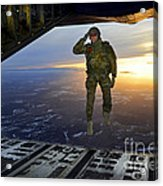 A U.s. Soldier Salutes His Fellow Acrylic Print
