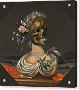 A Vanitas Bust Of A Lady With A Crown Of Flowers On A Ledge Acrylic Print