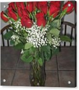 A Vase Of Red Roses Acrylic Print