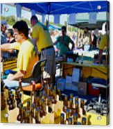 A Vendor At The Garlic Fest Offers Garlic Vinegar And Olive Oil For Sale Acrylic Print