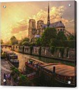 A View From Bridge Pont De L Archeveche, Archbishop Bridge, Infront Of Notre Dame De Paris Cathedr Acrylic Print