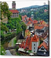 A View Of Cesky Krumlov And Castle In The Czech Republic Acrylic Print