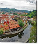 A View Of Cesky Krumlov And The Vltava River In The Czech Republic Acrylic Print
