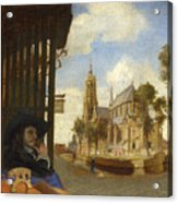 A View Of Delft With A Musical Instrument Seller's Stall Acrylic Print