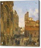 A View Of The Piazza Della Signoria Acrylic Print