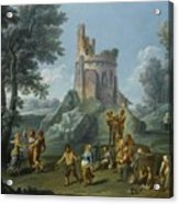A View Of The Sedia Del Diavolo With Peasants  Acrylic Print