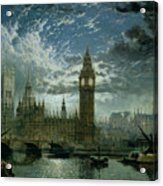 A View Of Westminster Abbey And The Houses Of Parliament Acrylic Print by John MacVicar Anderson