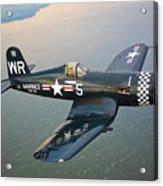 A Vought F4u-5 Corsair In Flight Acrylic Print by Scott Germain