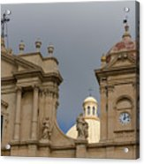 A Well Placed Ray Of Sunshine - Noto Cathedral Saint Nicholas Of Myra Against A Cloudy Sky Acrylic Print