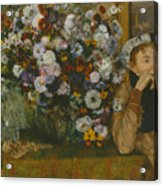 A Woman Seated Beside A Vase Of Flowers Acrylic Print