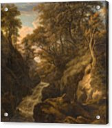 A Wooded Landscape With A Waterfall And A Fisherman Walking Along A Path Acrylic Print