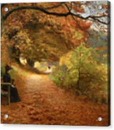 A Wooded Path In Autumn Acrylic Print