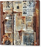 A Wooden Frame Full Of Wanted Posters Acrylic Print