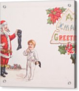 A Xmas Greetings With Santa And Child Vintage Card Acrylic Print