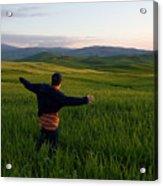 A Young Boy Runs Through A Field Acrylic Print