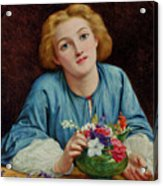 A Young Girl Arranging A Bouquet Acrylic Print