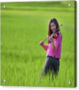 A Young Girl In A Folk Costume Plays A Vivaro In A Green Rice Fi Acrylic Print