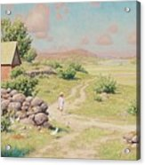 A Young Girl In Summer Landscape Acrylic Print